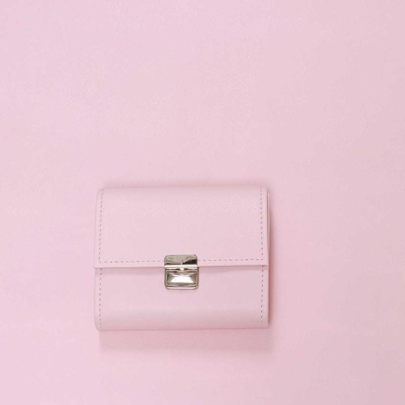 kleines damen leder portemonnaie puder rosa s