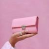 elfenkang handgemachte leder geldböre rosa medium