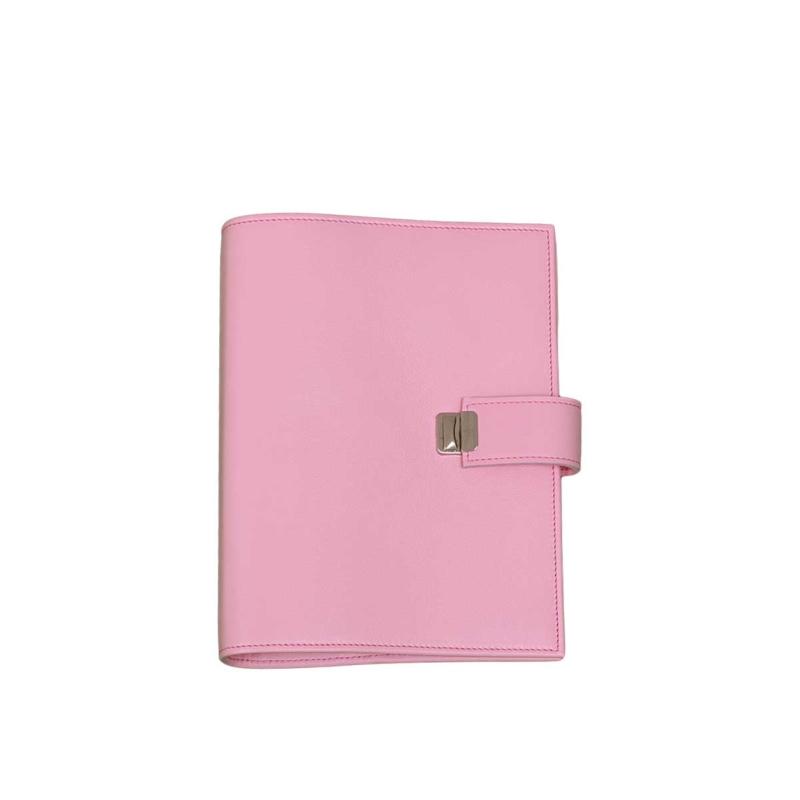 rosa leder a5 planer grosse ringe 34mm
