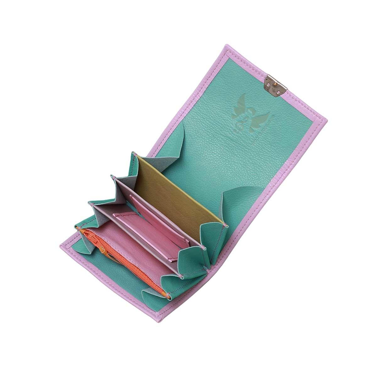 kleine leder geldbörsen in pastell farben