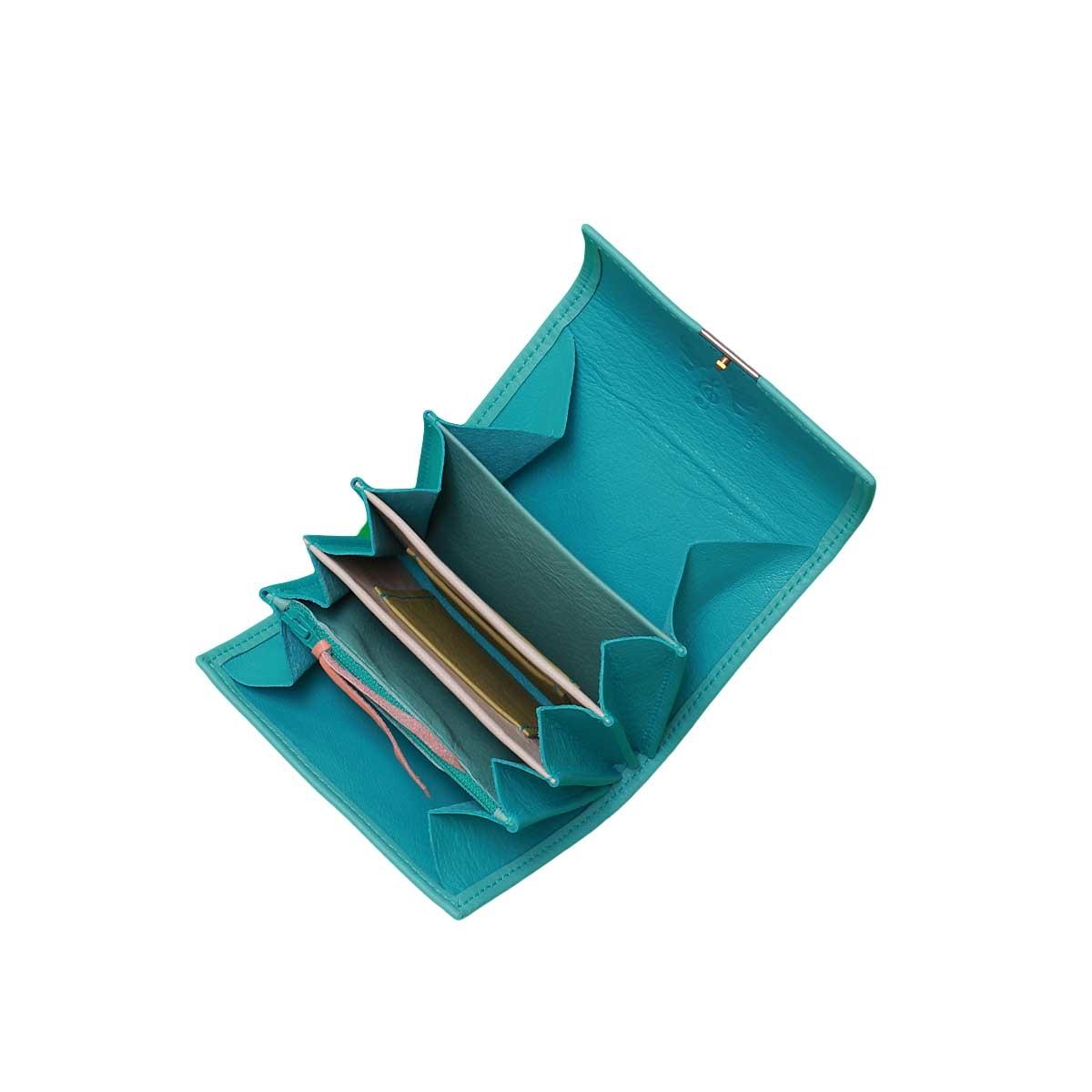süße kleine leder geldbörse türkis