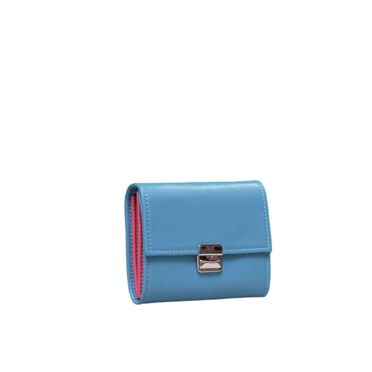 Damen Leder Portemonnaie klein Paris Blue S