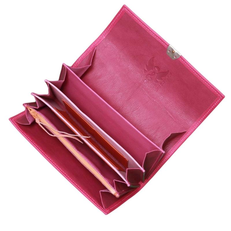 grosser geldbeutel lange form pink leder