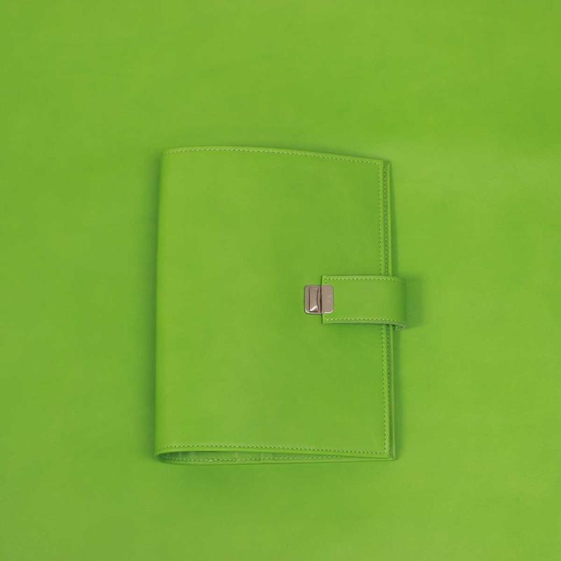 a5 leder ring planer apfelgrün elfenklang