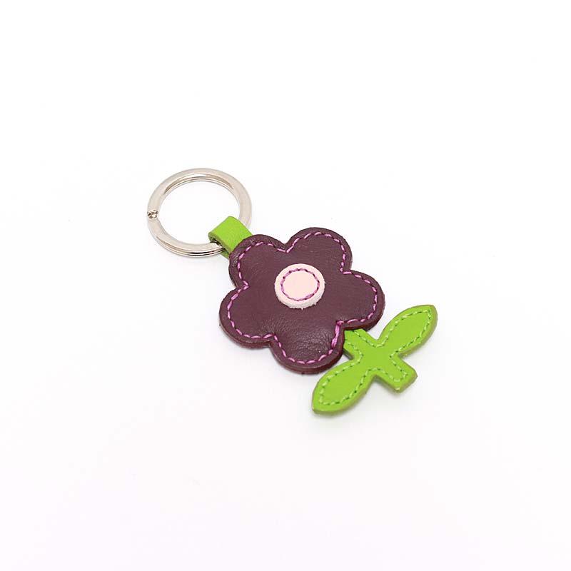 Leder Schlüsselanhänger in Blumenform Wacholder