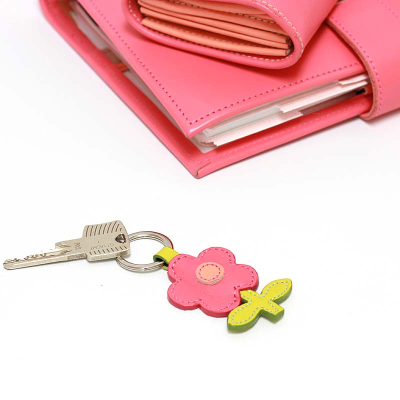 Leder Schlüsselanhänger in Blumenform Peony