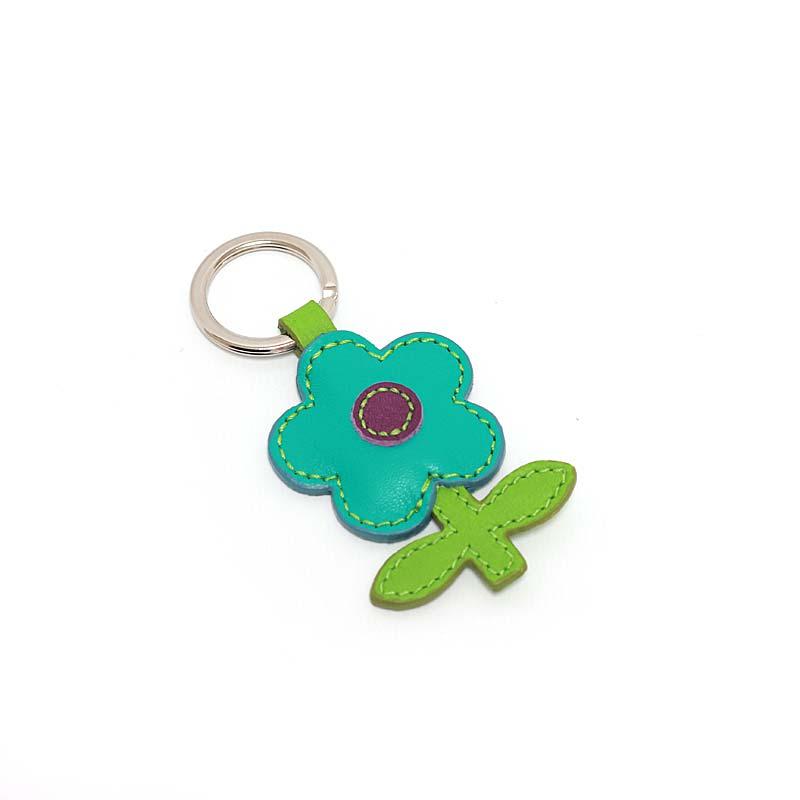 Leder Schlüsselanhänger in Blumenform Aqua