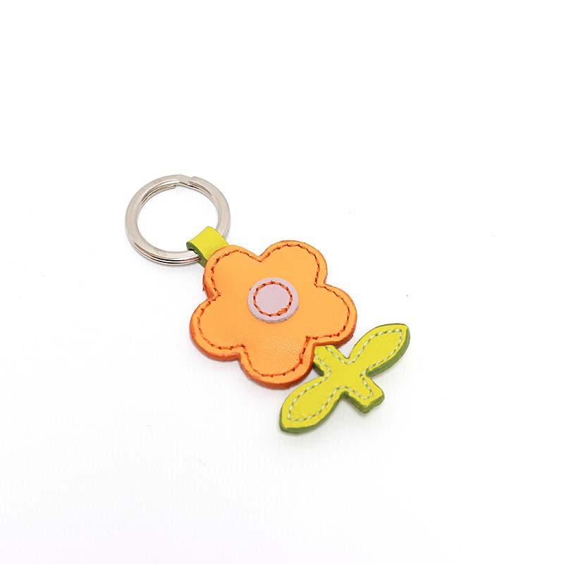 Leder Schlüsselanhänger in Blumenform Orange
