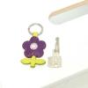 Leder Schlüsselanhänger in Blumenform Lila