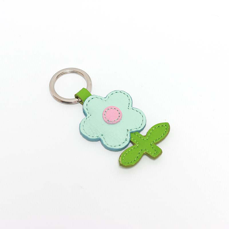 Leder Schlüsselanhänger in Blumenform Mint