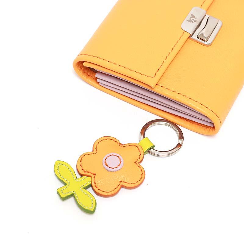 leather keychain flower orange