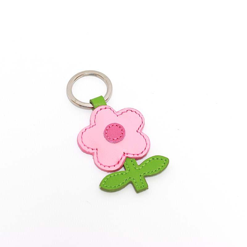 Leder Schlüsselanhänger in Blumenform Rosa