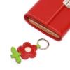 Leder Schlüsselanhänger in Blumenform Scarlet Rot