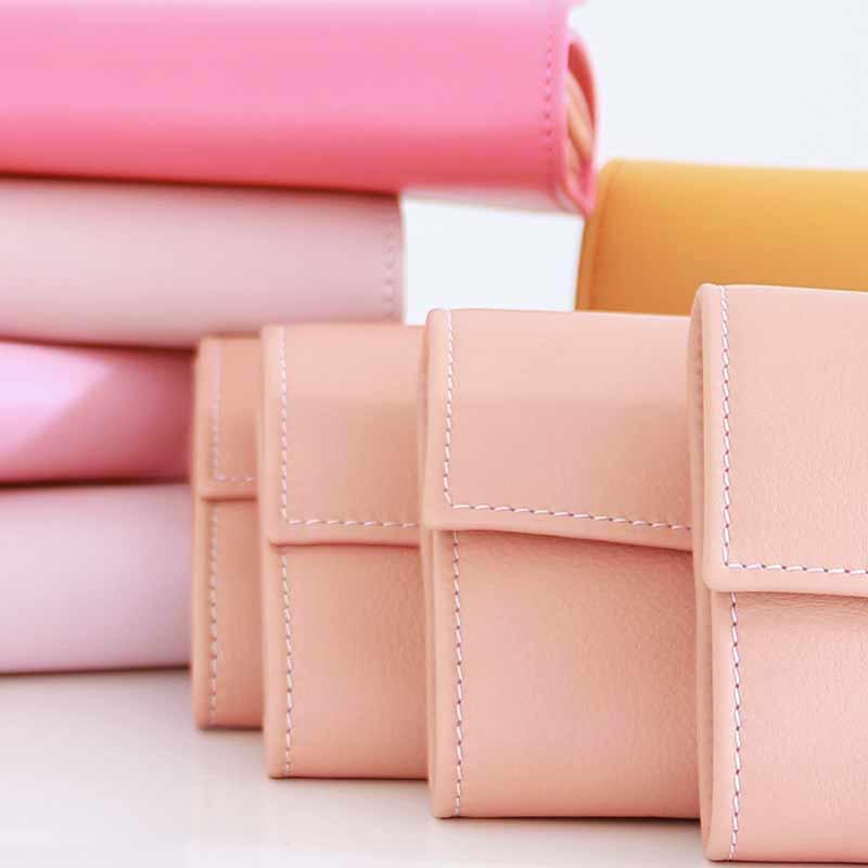 bunte leder geldbörsen damen pink rosa blush
