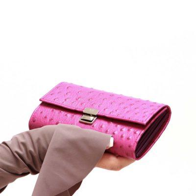 handgemachte damen portemonnaies leder strauss pink kaufen