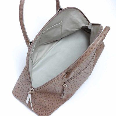 handgemachte handtaschen straussenleder taupe