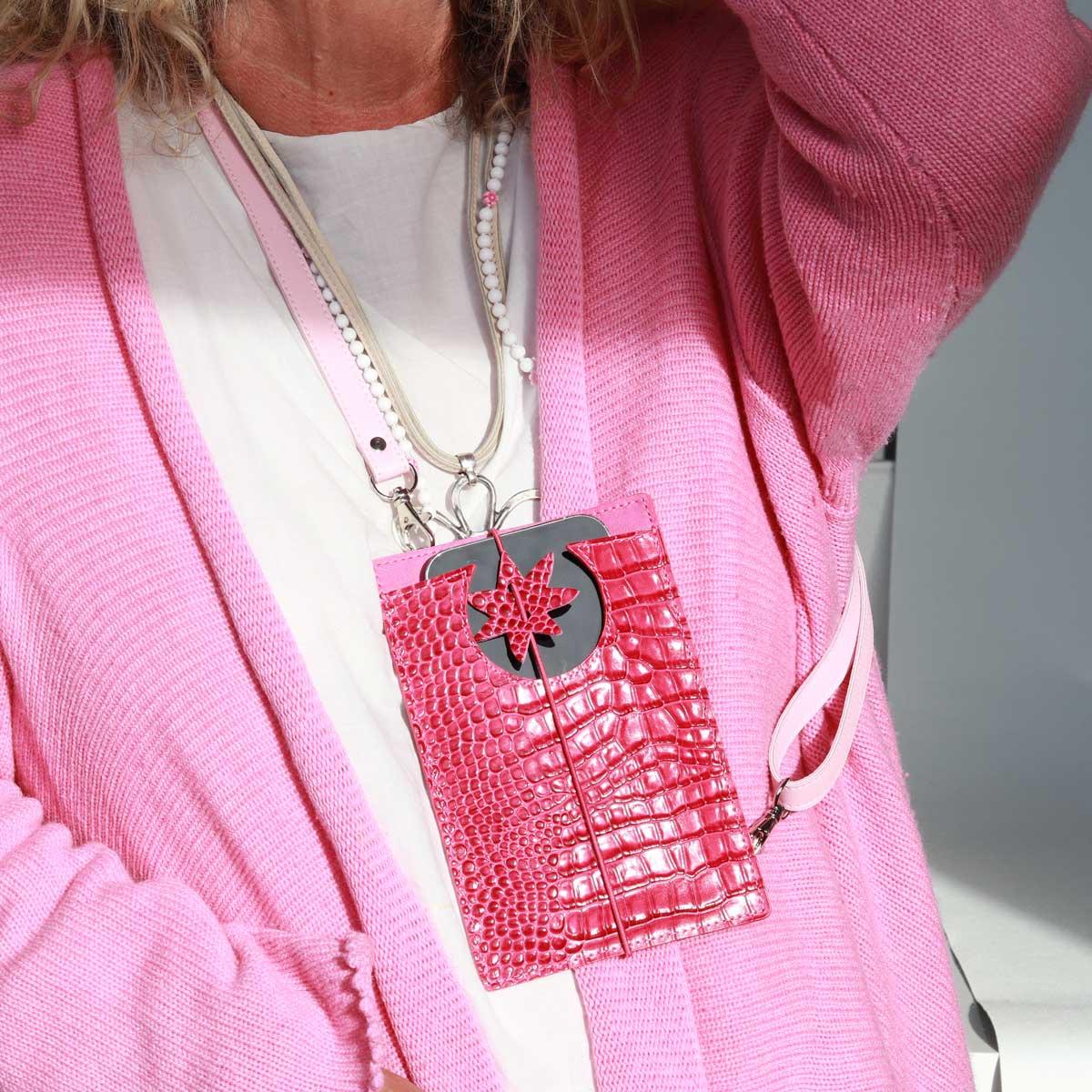 elfenklang handyhüllen kroko pink zum umhängen