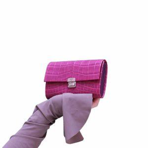 Damen Portemonnaie Kroko Prägung Purple M