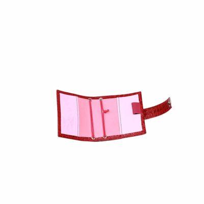 A7 Nano Planner mit Gummis Leder Kroko Rot