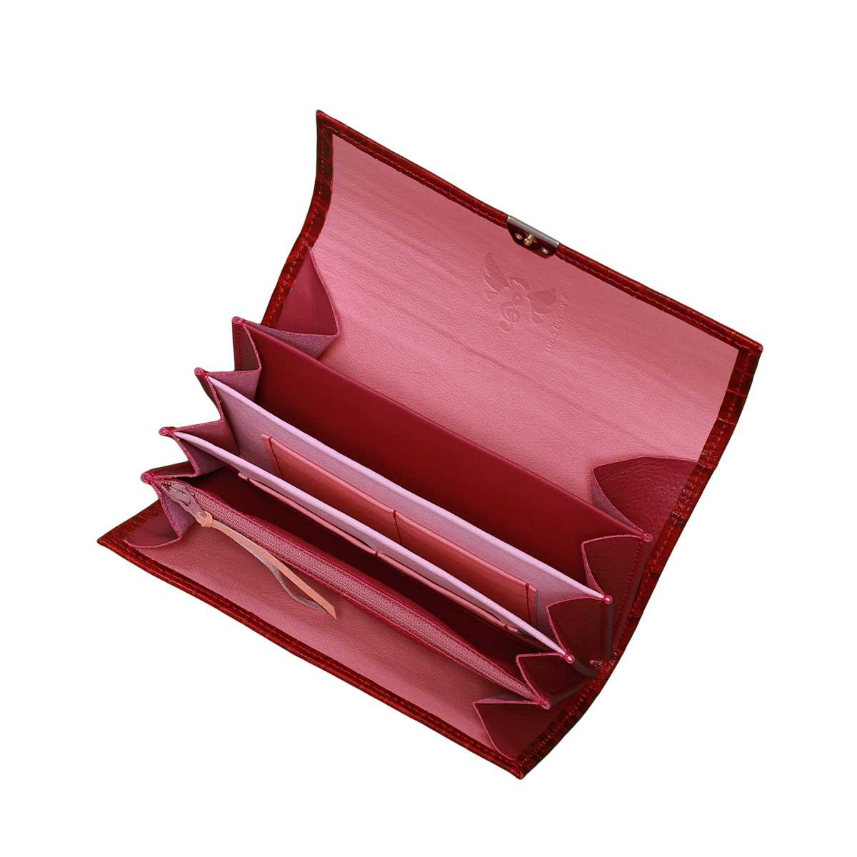 8935449e22e4e Leder Geldbörse Kroko Rot XL- Damen Portemonnaie Online Shop