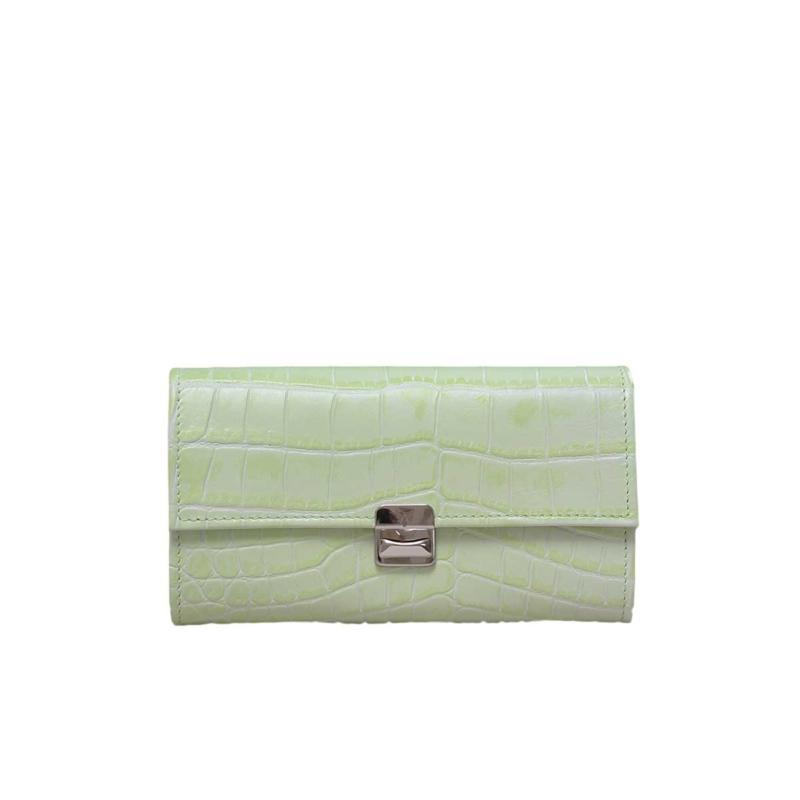 damen geldbörsen krokodilleder hellgrün