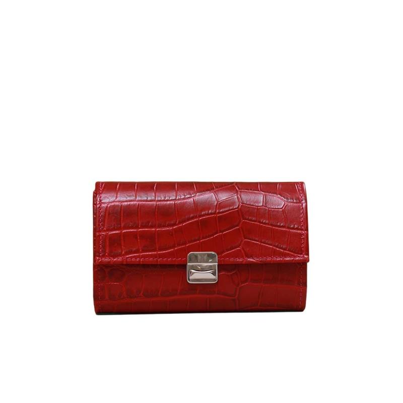 rote damen geldbörse krokoleder