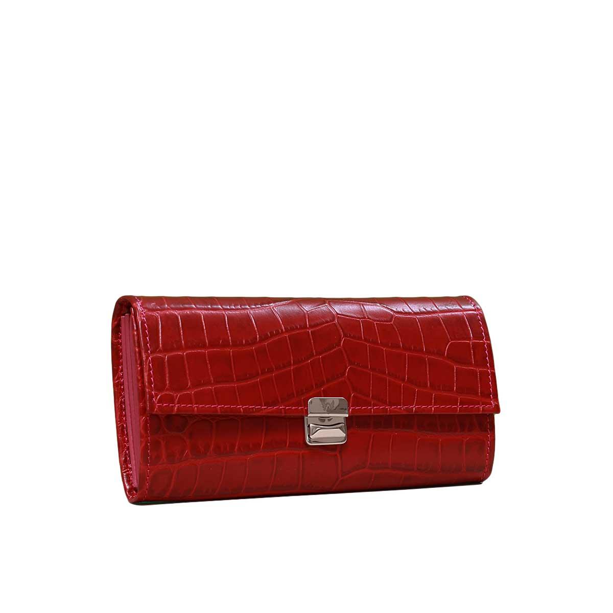 bf60c1d5eafd2 edle damen portemonnaies krokodilleder rot Leder Geldbörse Kroko Rot XL  elfenklang geldbeutel xl größe ...