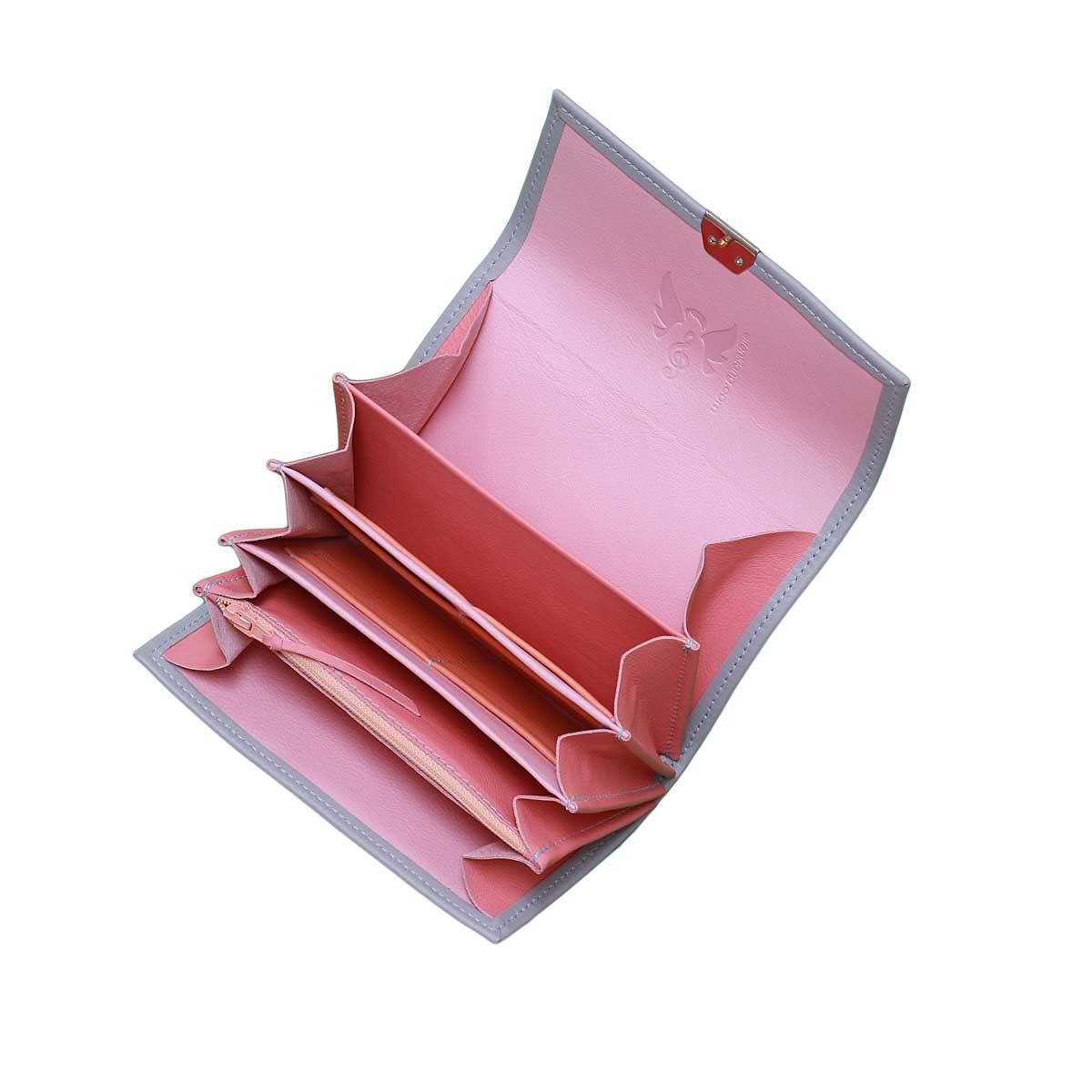 portemonnaie leder blau rosa