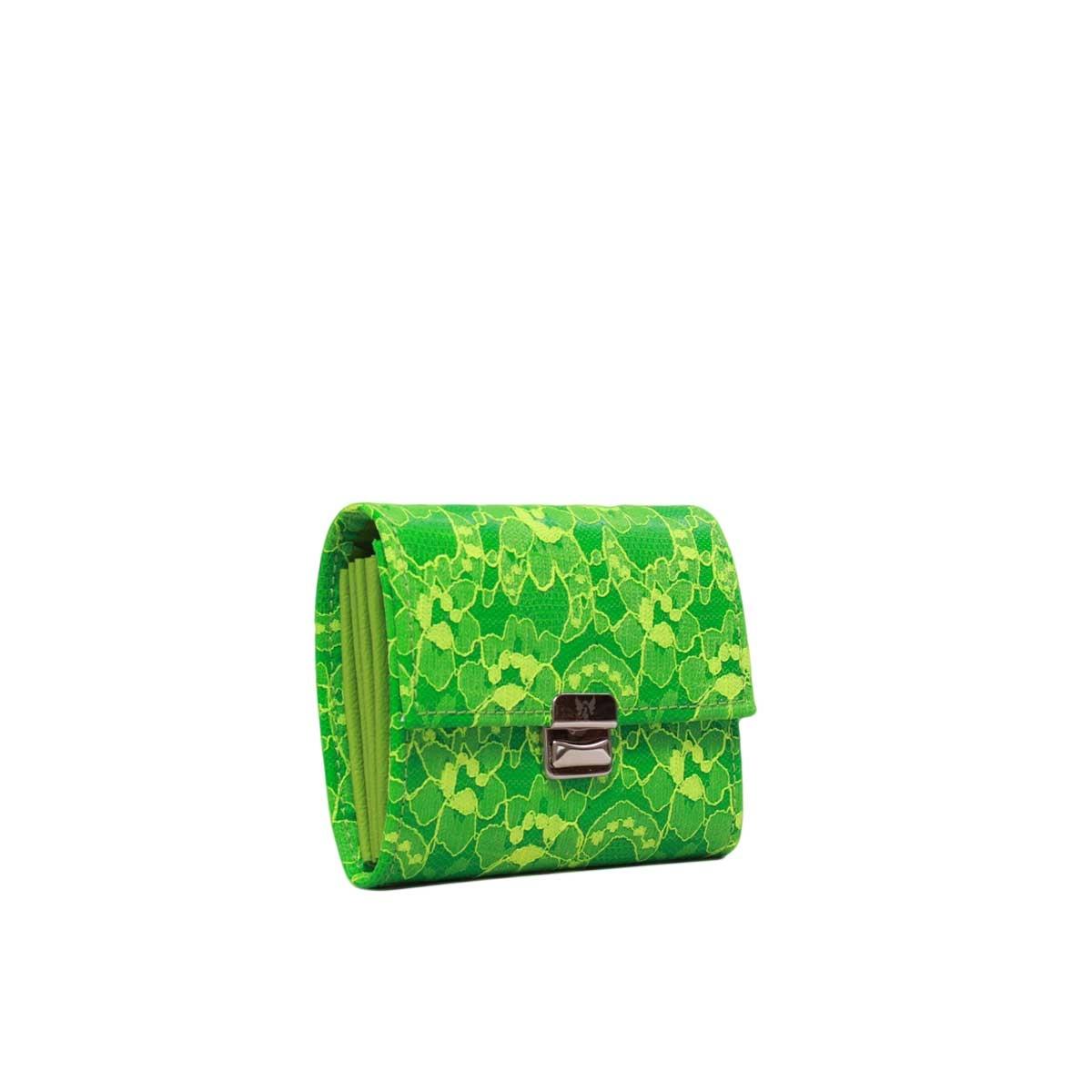 Kleine Damen Geldbörse Spitze Neon Grün S
