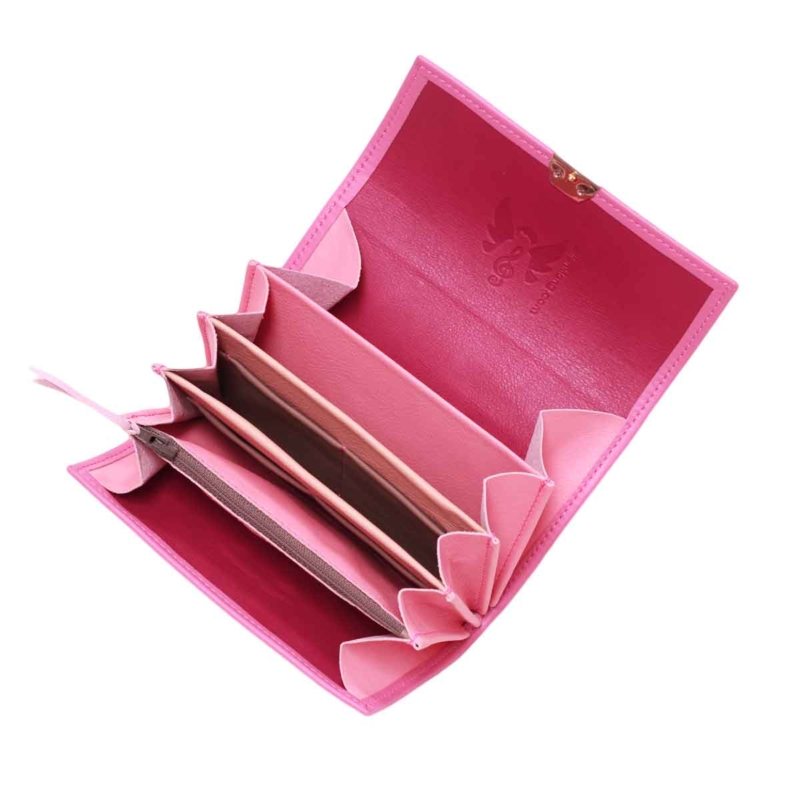 schöne damen portemonnaies leder pink orchidee elfenklang
