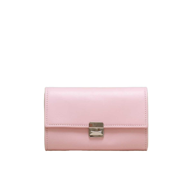 Damen Portemonnaie Leder Hellrosa Rosa M