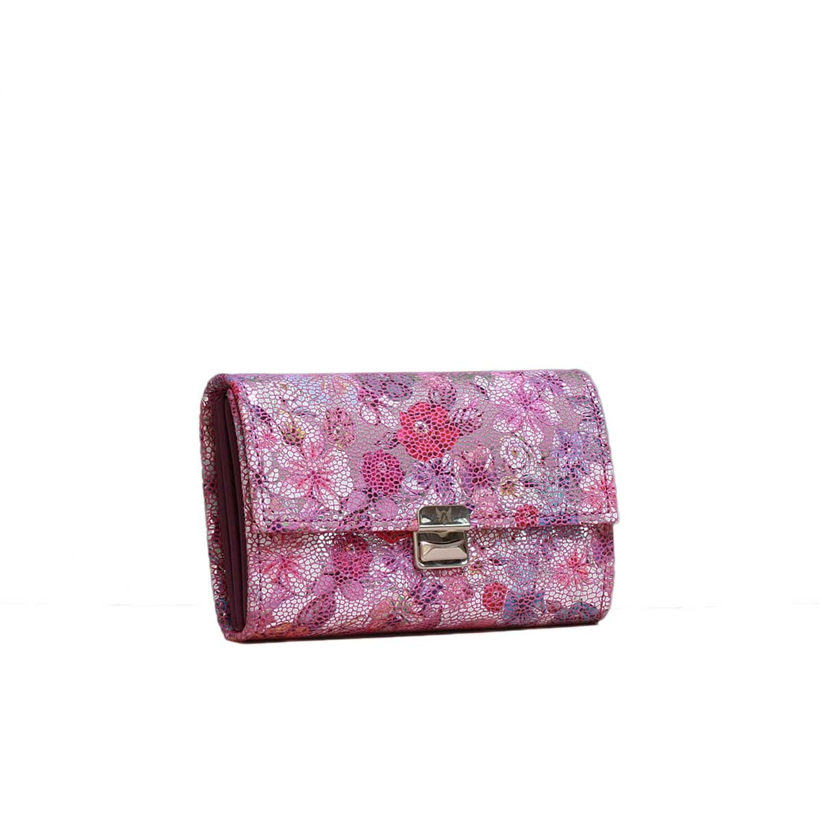 Damen Portemonnaie Wildleder Glitzer Blumen Purple M