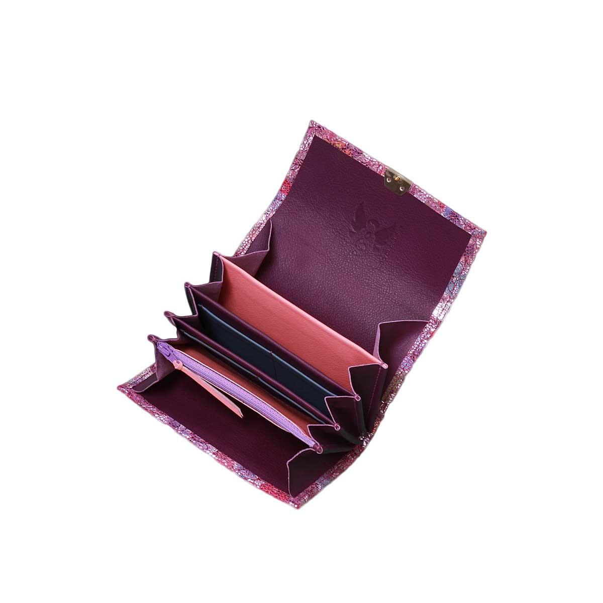 fächerbörsen aus echtem leder lila