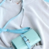 leder riemen für taschen blau schmal