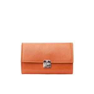 Leder Portemonnaie Damen Orange Glanz M