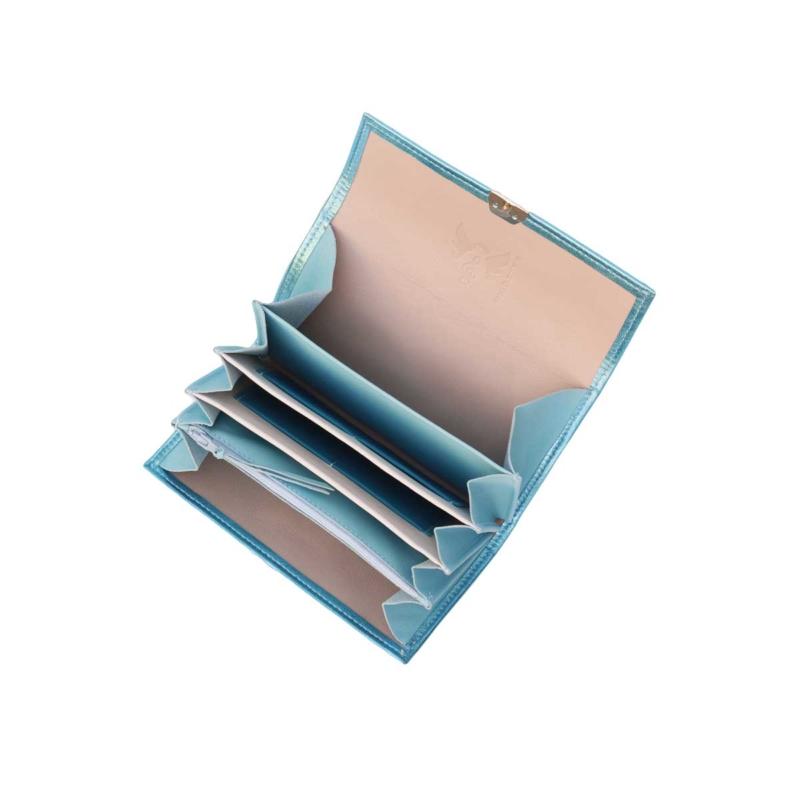 geldbeutel mit viel platz fächern leder metallic blau