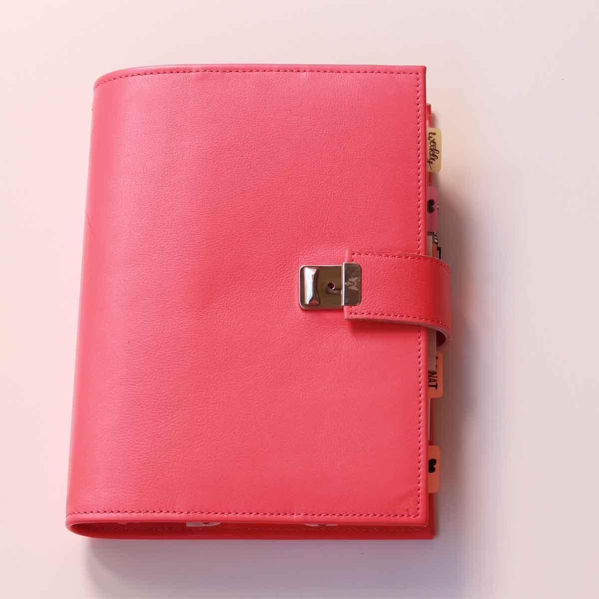 a5 ringbuch leder pink