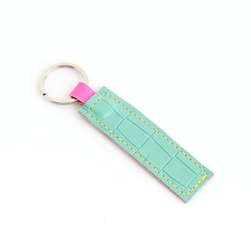 Lederband Schlüsselanhänger kurz Kroko Mint 3