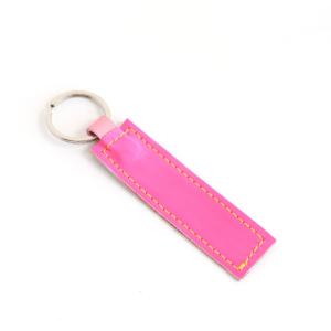 Lederband Schlüsselanhänger kurz Neon Pink Braun 2