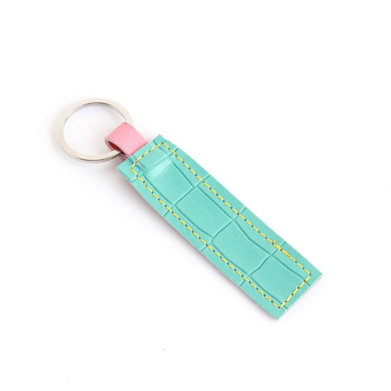 Lederband Schlüsselanhänger kurz Kroko Mint 1