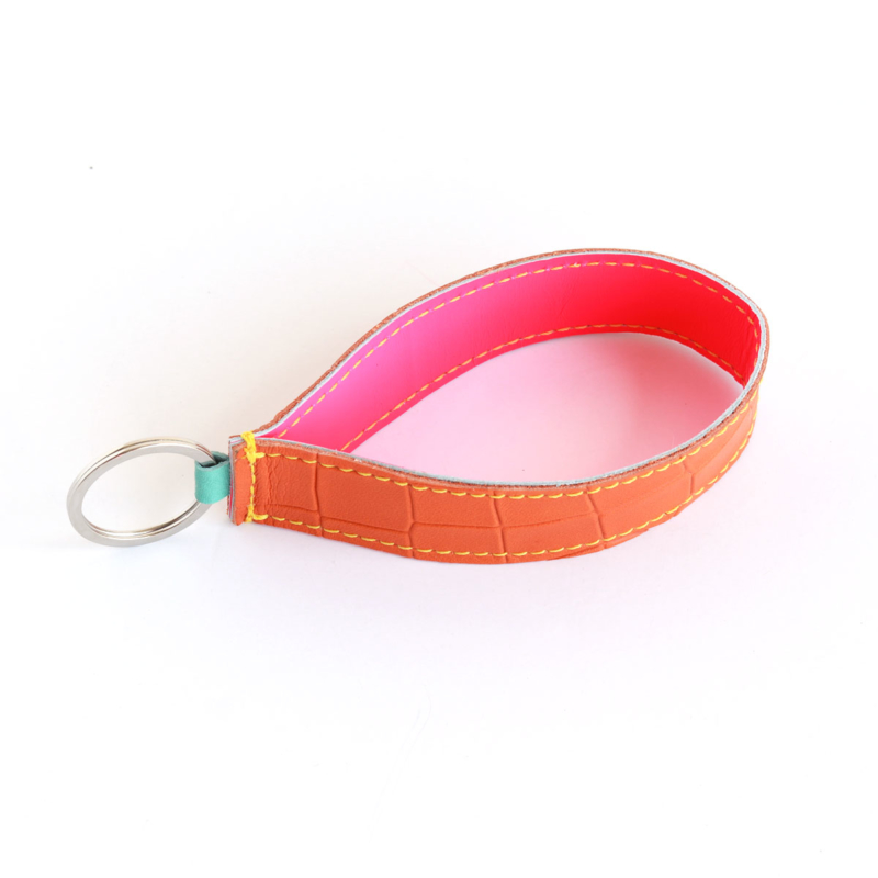 Lederband Schlüsselanhänger lang Kroko Orange