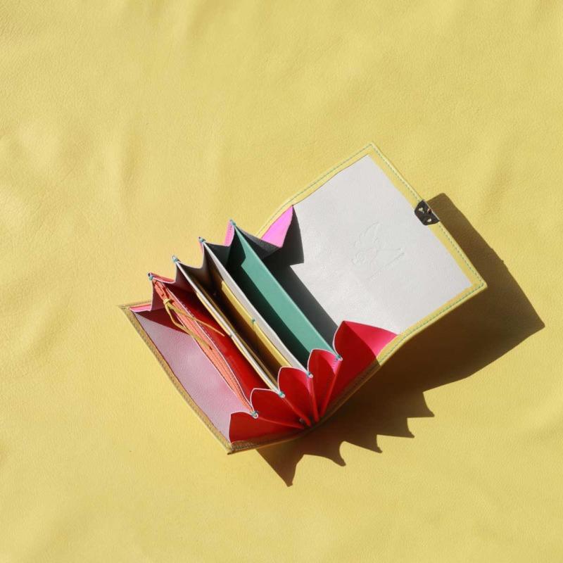 ausgefallene damen geldbörsen leder gelb neon pink kaufen elfenklang