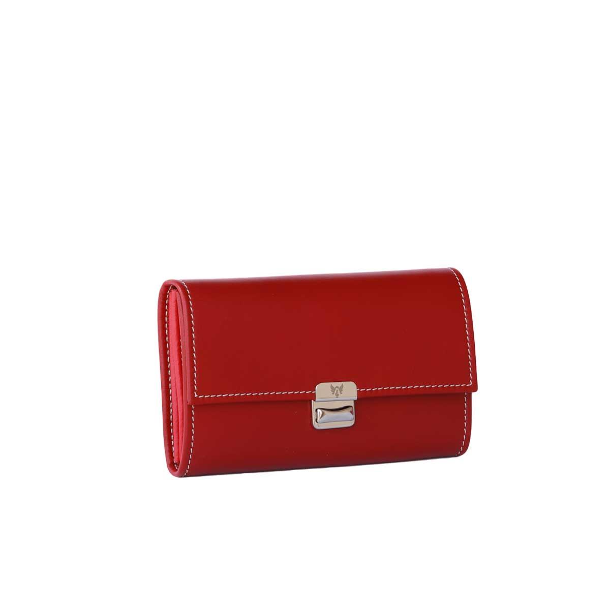 Leder Portemonnaie Damen Scarlet Rot M