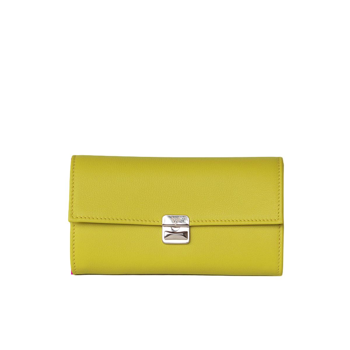 Damen Leder Geldbörse Lime mit Neon Pink L