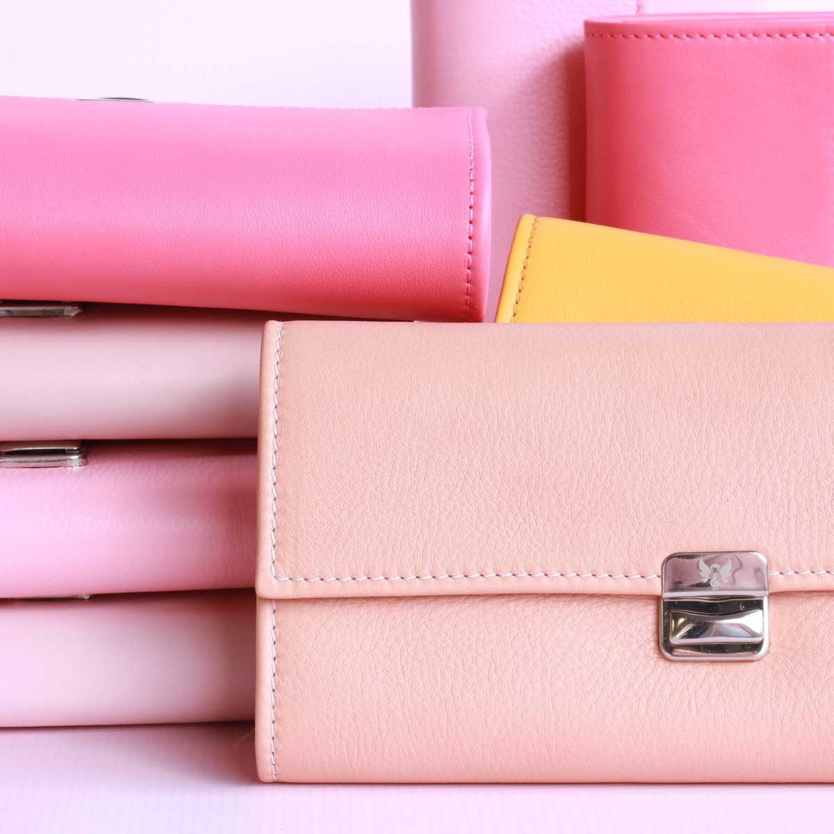 rosa leder geldbeutel handgemacht elfenklang kaufen