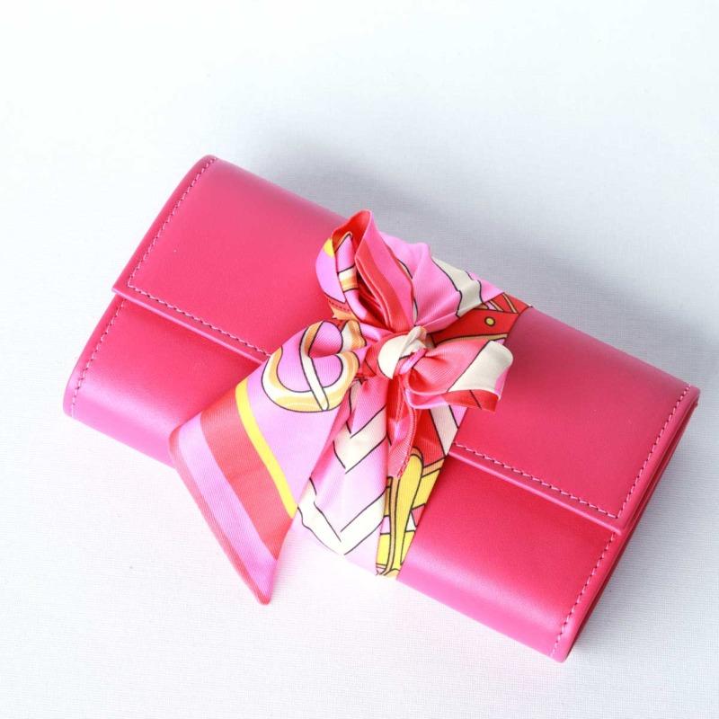 pink portemonnaie leder mit seidentuch elfenklang