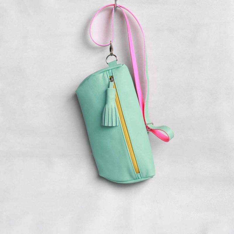 Leder Bodybag Mint crossbody