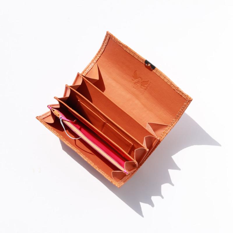 ausgefallene farbenfrohe damen portemonnaies leder orange