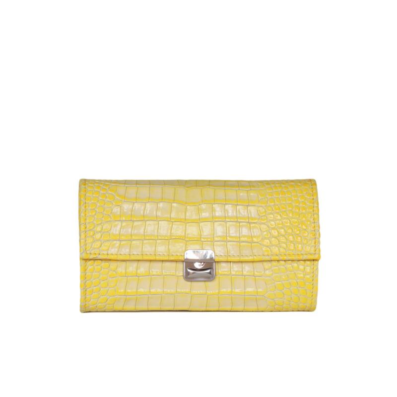 coole damen geldbeutel gelb krokodil prägung