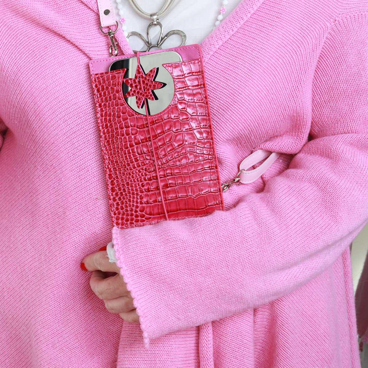 elfenklang handytaschen zum umhängen kroko pink